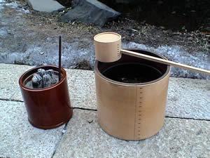 お客様の火鉢 春慶塗の火鉢
