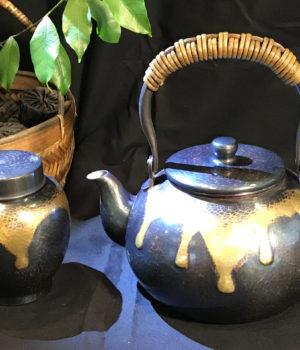 清徳堂 藍染銅瓶と銅茶壺