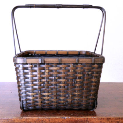 虎斑竹の黒竹炭籠 火鉢屋オリジナル