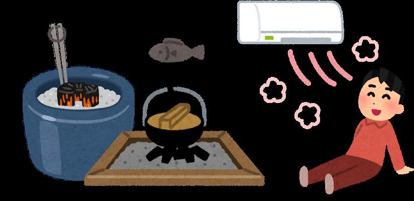暖房器具と火鉢の比較